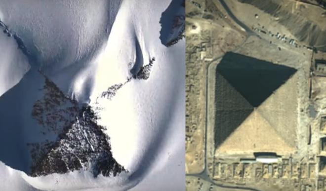 Hình ảnh so sánh giữa kim tự tháp ở Nam Cực (trái) và kim tự tháp ở Ai Cập.