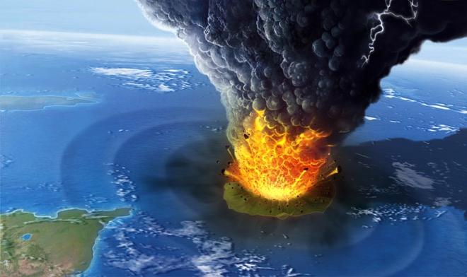 Hình ảnh phục dựng vụ nổ của núi lửa Krakatau năm 1883. Nguồn: Internet.