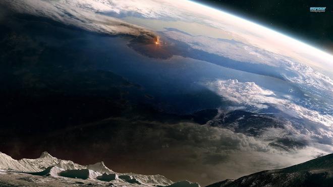 Hình ảnh phục dựng vụ núi lửa Krakatoa phun trào nhìn từ không gian.