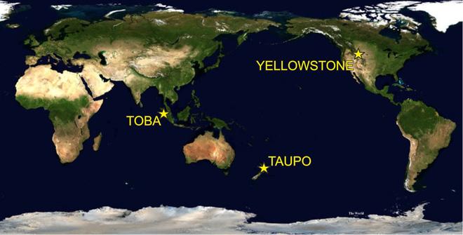 Vị trí của 3 trong 4 siêu núi lửa trên Trái Đất: Ảnh: Techtimes.