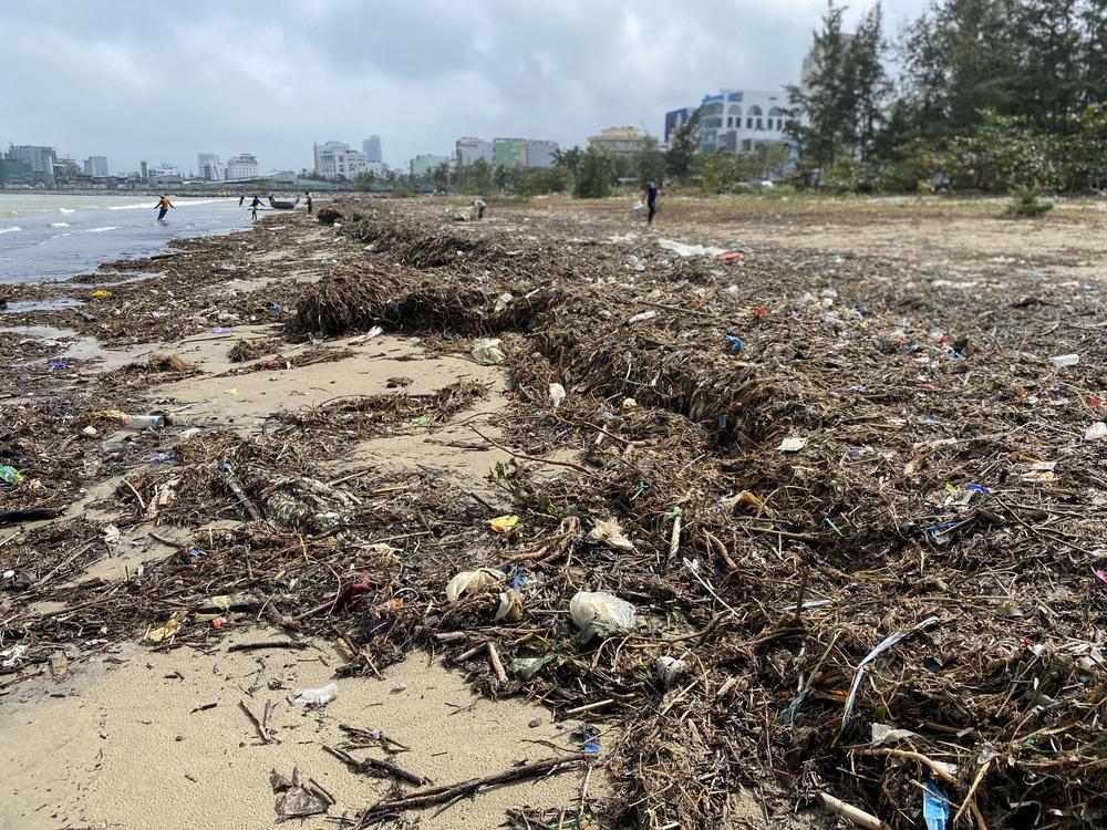 [Ảnh] Hơn 500 tấn rác dạt vào bãi biển Đà Nẵng - Ảnh 2.