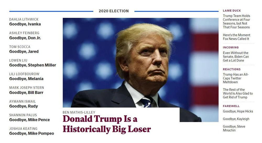 Ông Biden đắc cử, tạp chí Mỹ dành nguyên trang nhất từ biệt toàn thể bộ sậu của ông Trump - Ảnh 1.