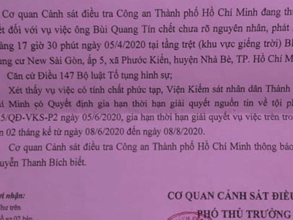 Gia hạn giải quyết vụ tiến sĩ Bùi Quang Tín rơi lầu tử vong - Ảnh 1.