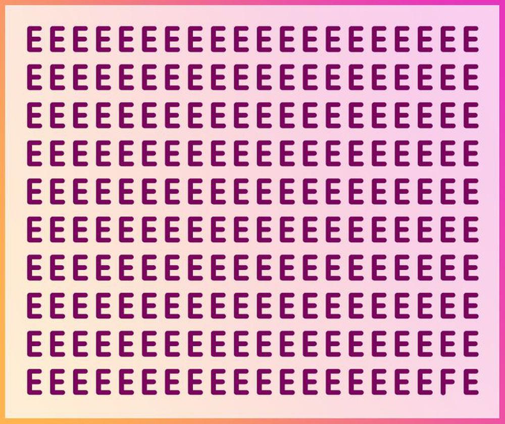 Thách thức thị giác 5 giây: Trong bảng toàn chữ E, có một chữ cái khác, đố bạn tìm ra! - Ảnh 1.