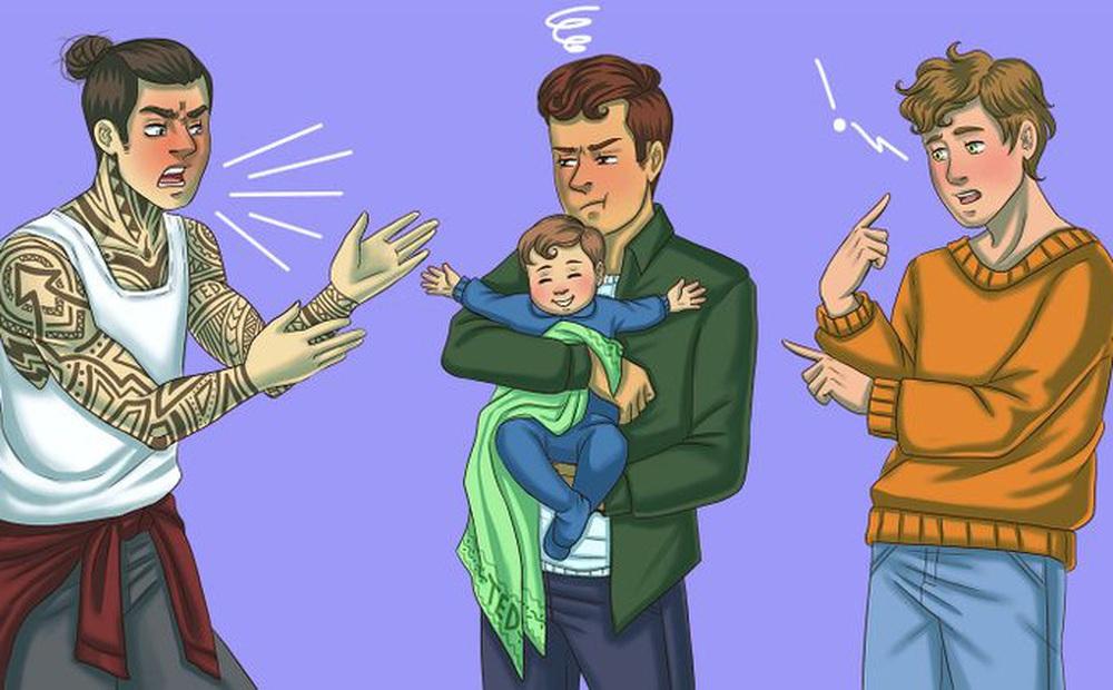 Thử tài phán đoán: Chỉ người nhanh nhạy mới tìm ra ai là bố đứa trẻ trong 1 giây