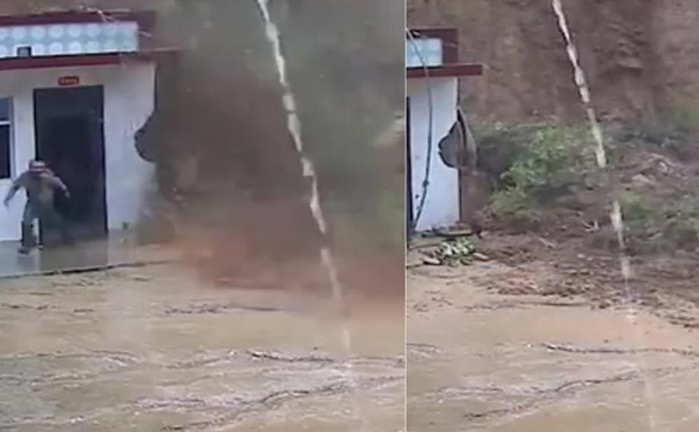 Clip: Lở đất kinh hoàng ngay sau nhà, hai người đàn ông may mắn thoát chết trong gang tấc