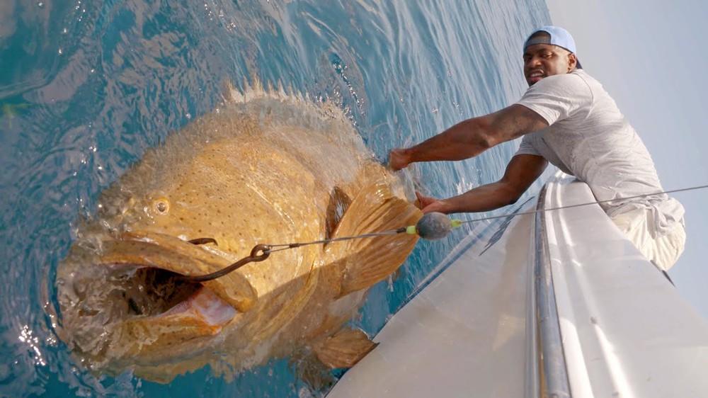 Ngôi sao bóng bầu dục cũng toát mồ hôi hột khi kéo lên quái vật ăn thịt cả cá mập này - Ảnh 1.