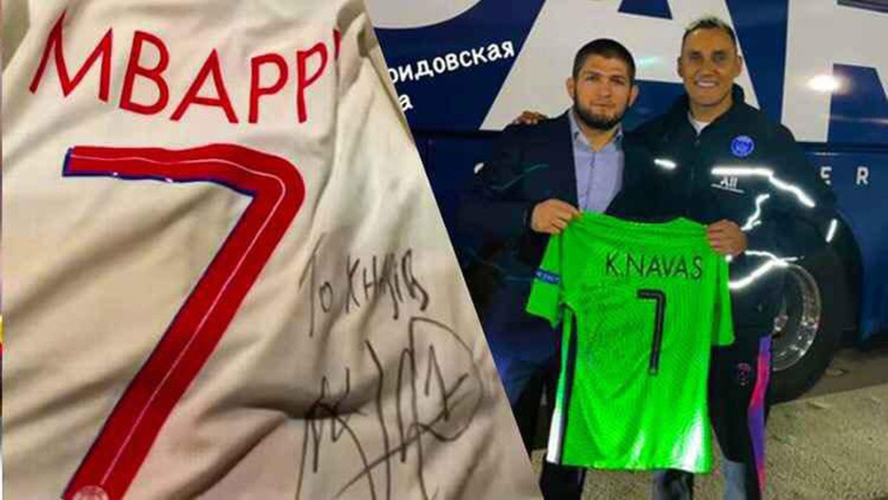 Nhà vô địch Khabib nhận món quà đặc biệt từ siêu sao Kylian Mbappe khi tới dự khán trận đấu tại Champions League - Ảnh 1.