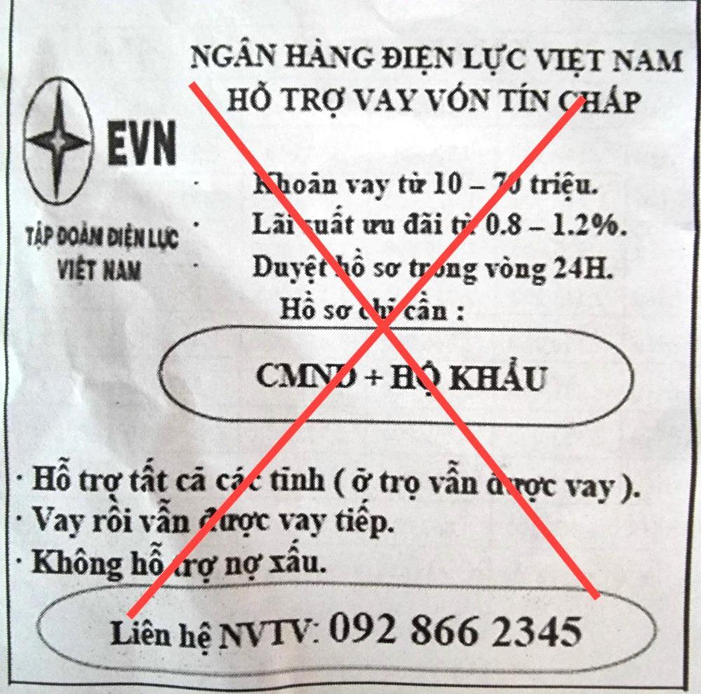Giả mạo thương hiệu EVN để quảng cáo cho vay tín chấp - Ảnh 1.