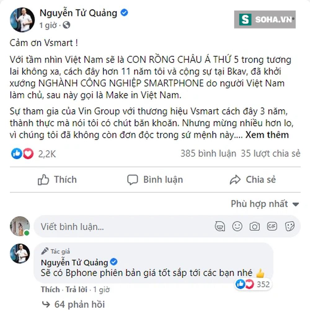 Nguyễn Tử Quảng cám ơn Vsmart, khẳng định Bphone sẽ đứng Top 2 thị phần vào năm 2023  - Ảnh 1.