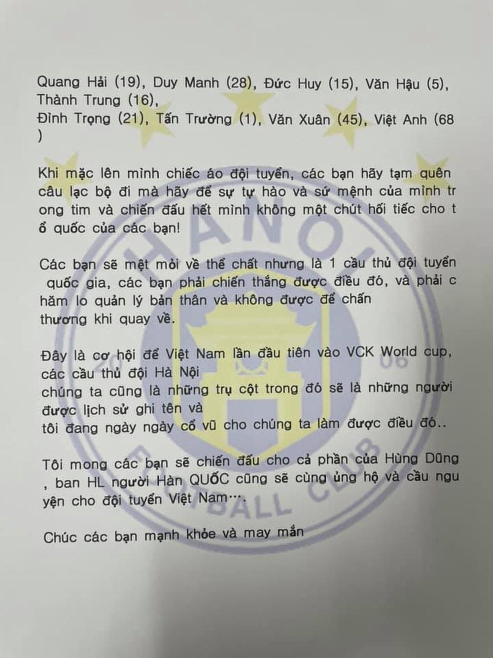 HLV Hàn Quốc của Hà Nội FC gửi lời chúc đặc biệt đến các tuyển thủ Quang Hải, Tấn Trường... - Ảnh 1.
