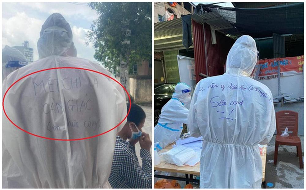 Những lời nhắn viết trên áo bảo hộ của các y bác sĩ ở tâm dịch khiến dư luận xôn xao