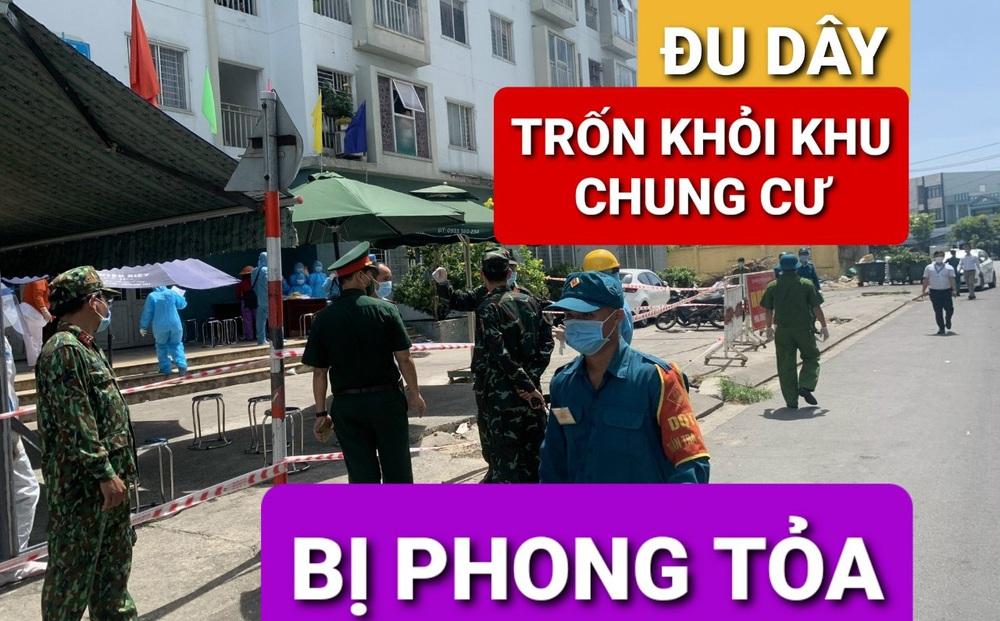 Phát hiện người đàn ông đu dây từ tầng 3, tìm cách trốn khỏi chung cư đang phong toả ở Đà Nẵng