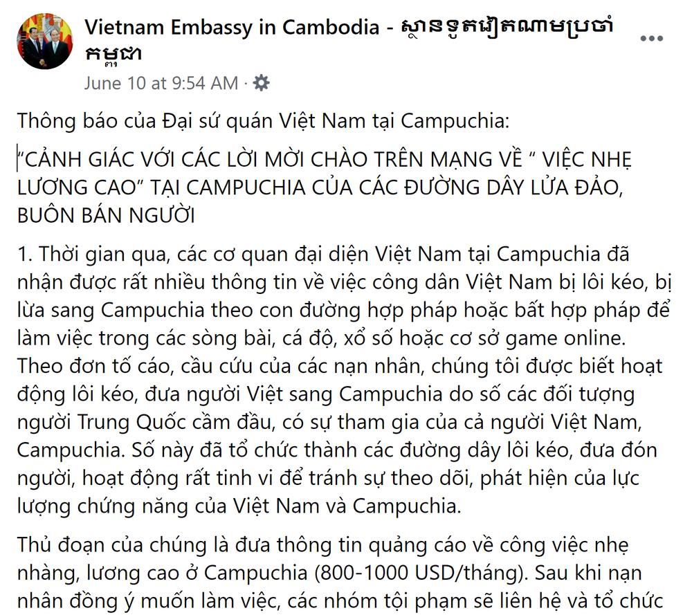 Sự thật đáng sợ về những lời chào mời việc nhẹ, lương cao cho người Việt ở Campuchia - Ảnh 1.