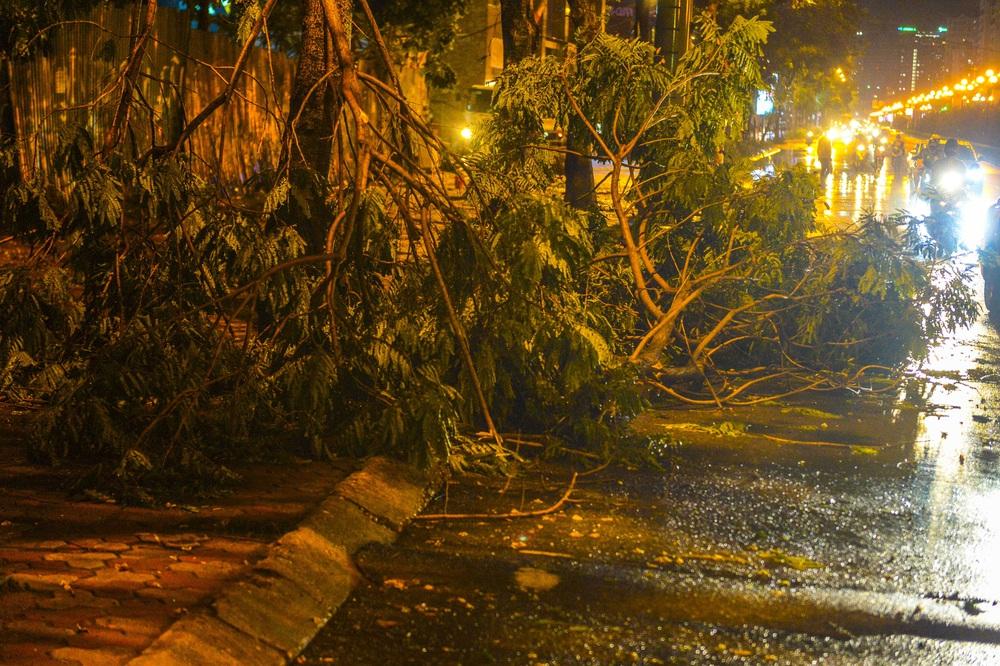 [ẢNH] Sau mưa giông lớn ở Hà Nội, cây đổ la liệt, đường ngập, nhiều xe chết máy - Ảnh 2.