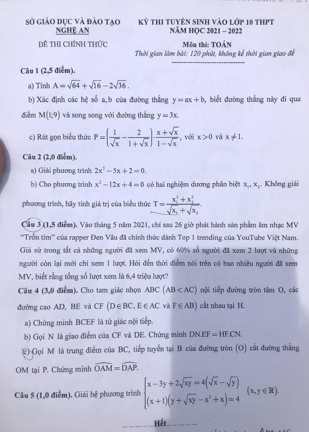 MV Trốn tìm của Đen Vâu vào đề Toán thi lớp 10 ở Nghệ An, học sinh khóc vì khó và lạ - Ảnh 1.