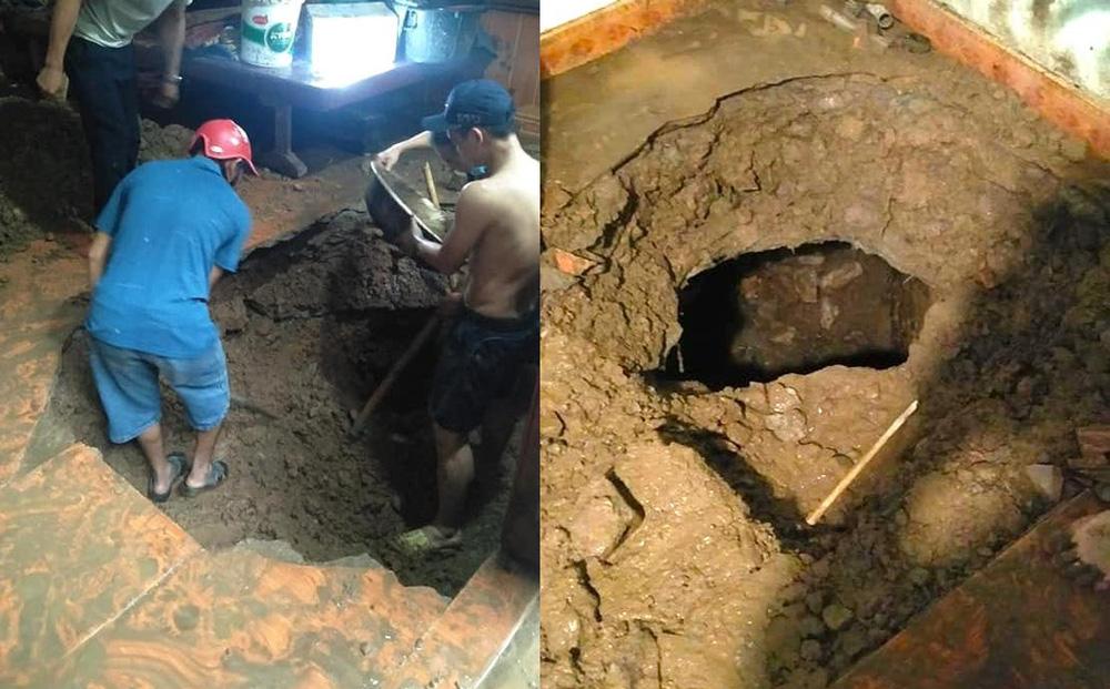 """Mưa lớn sau nhiều ngày nắng nóng kỷ lục ở Nghệ An, xuất hiện """"hố tử thần"""" trong nhà dân"""