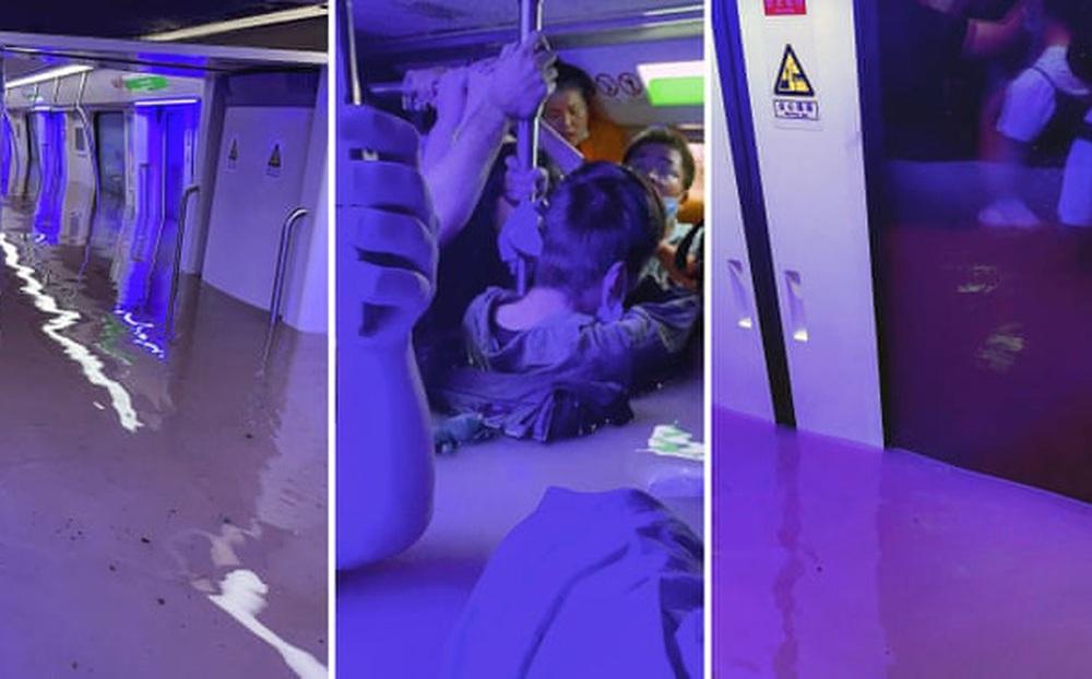 Nước tràn vào toa tàu, dâng cao đến ngực, hành khách vội gọi điện báo thông tin ngân hàng cho gia đình