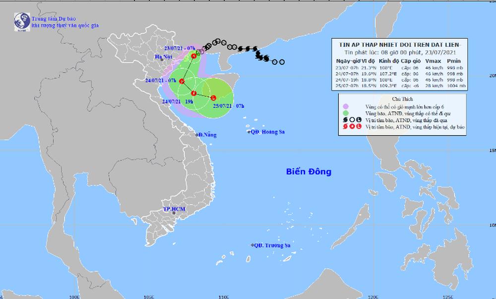 Áp thấp nhiệt đới cách Quảng Ninh 40km, các tỉnh Bắc Bộ hôm nay mưa lớn - Ảnh 1.