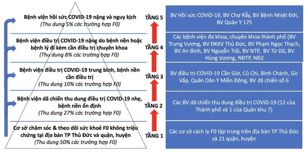 Số ca mắc và tử vong tăng: TP HCM chuyển đổi áp dụng mô hình tháp 5 tầng trong điều trị F0 - Ảnh 1.