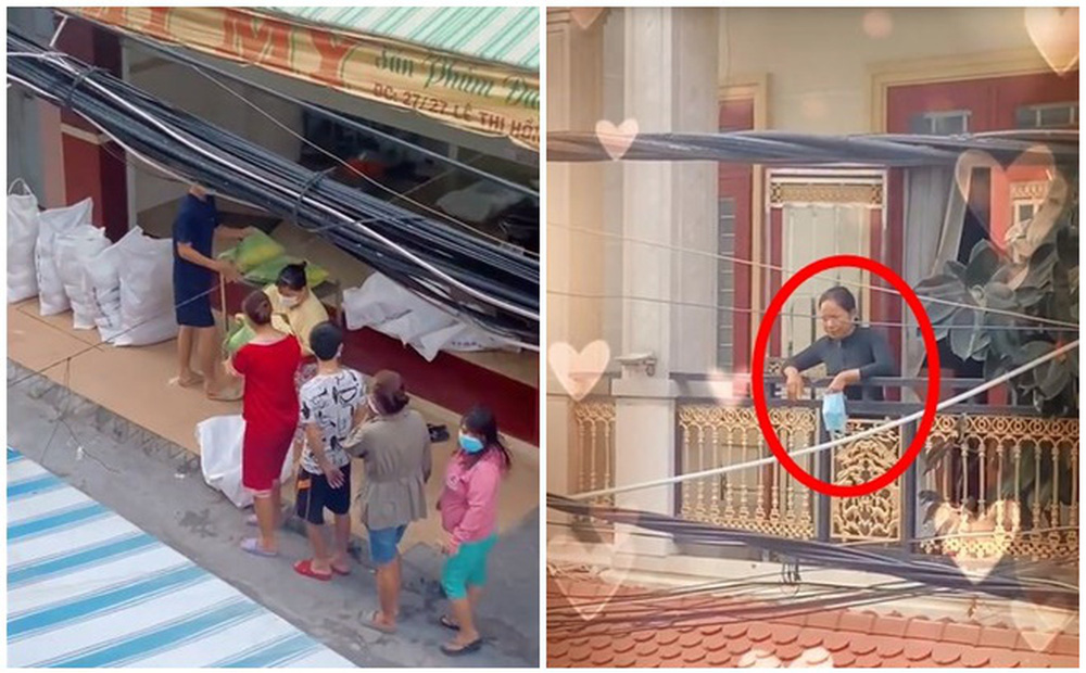 """Clip quay lén 28s gây sốt: """"Hành tung bí ẩn"""" của phụ nữ áo đen khi dân xóm nghèo nhận gạo từ thiện"""