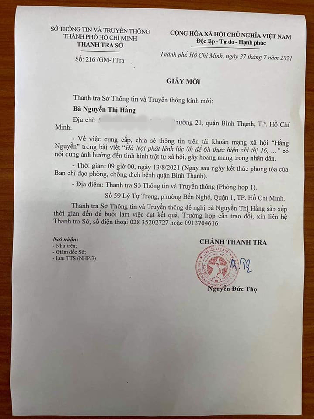 Sở Thông tin và Truyền thông TP.HCM mời mẹ ruột Hiền Sến đến làm việc về bài viết gây bức xúc dư luận - Ảnh 1.
