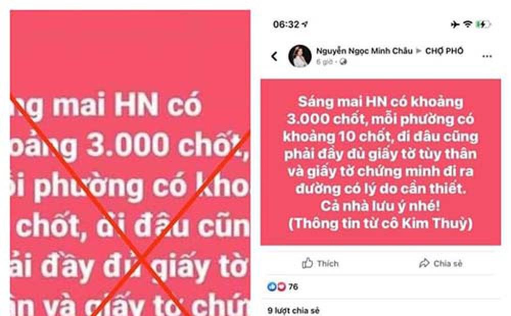 """Truy tìm đối tượng tung tin đồn """"Hà Nội có 3.000 chốt"""""""