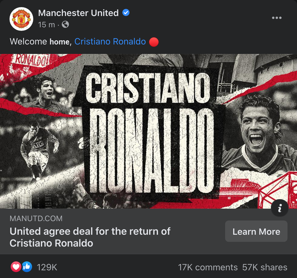 CẬP NHẬT: Ronaldo chính thức trở về Man United với bản hợp đồng 2 năm - Ảnh 1.