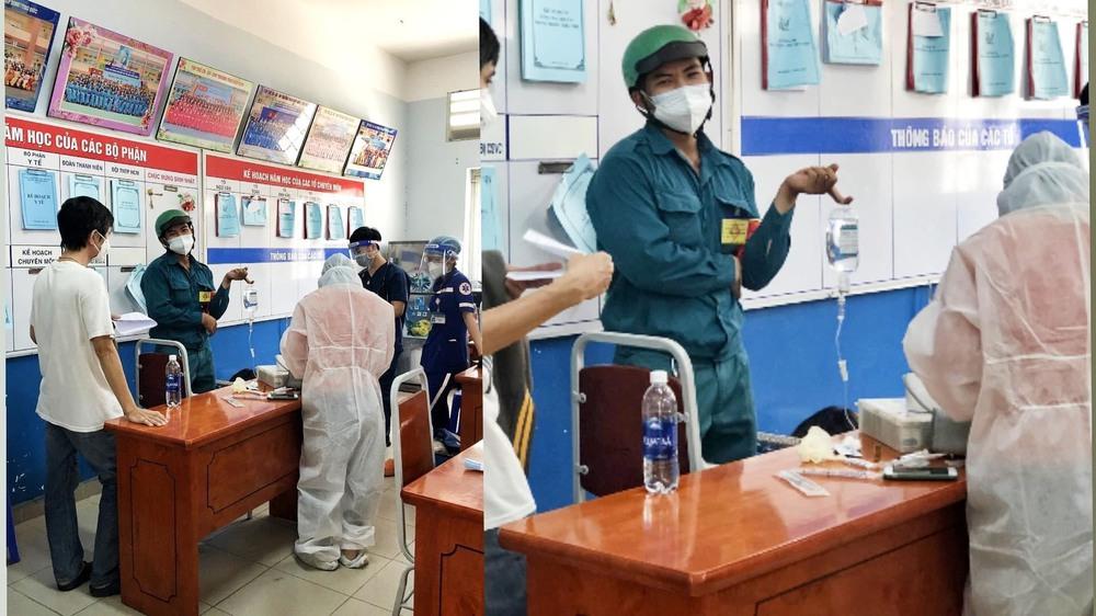 Chàng dân quân tự nhận là cây treo nước biển chạy bằng cơm - hình ảnh trong trạm y tế khiến MXH rần rần chia sẻ - Ảnh 1.
