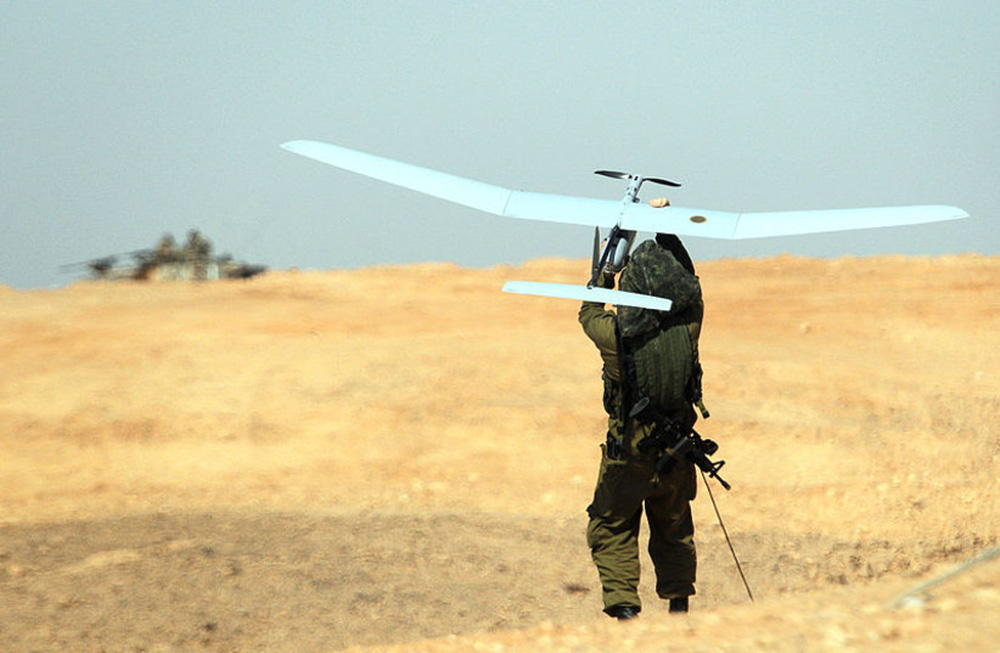 Israeli soldiers launch a Skylark UAV during a joint exercise with ground forces.