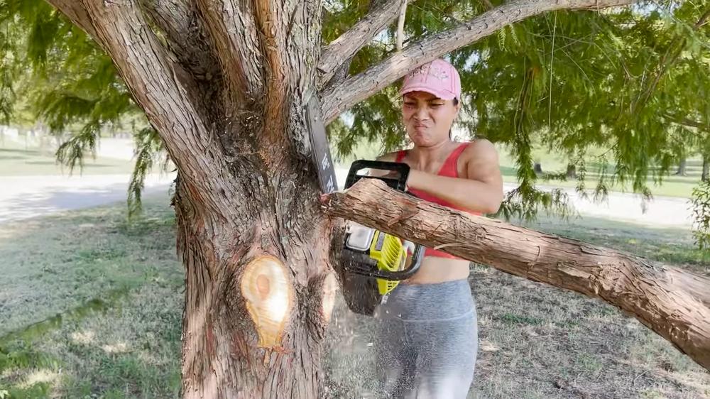 Choáng ngợp cảnh Hồng Ngọc cầm cưa máy đốn cây trong vườn nhà rộng cả ngàn mét vuông tại Mỹ - Ảnh 1.