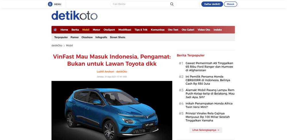 Báo chí Indonesia sôi sục vì VinFast: Chuyên gia nước bạn nói... nhầm về hãng xe Việt!? - Ảnh 1.