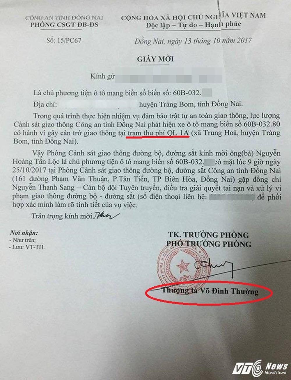 Giấy mời tài xế trả tiền lẻ qua BOT Biên Hòa lên làm việc do Thượng tá Võ Đình Thường ký có vấn đề? - Ảnh 1.