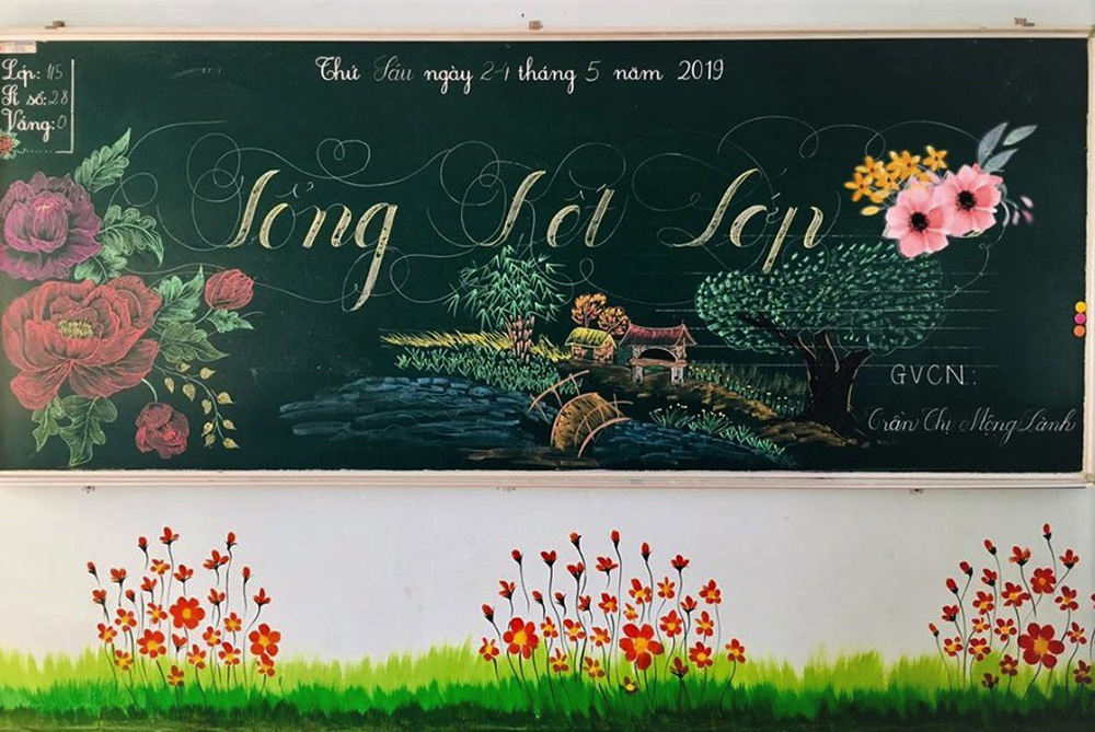 Giáo viên dành giờ nghỉ trưa thiết kế bảng tổng kết viết tay cực đẹp - Ảnh 3.
