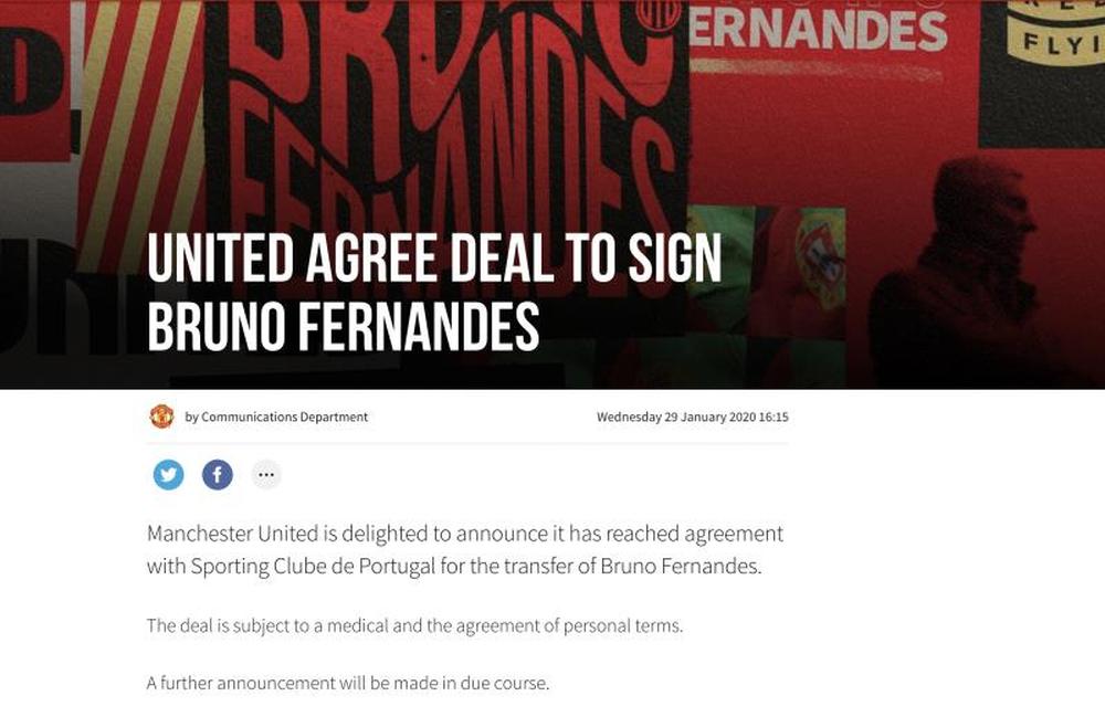 MU công bố chiêu mộ thành công Bruno Fernandes - Ảnh 1.