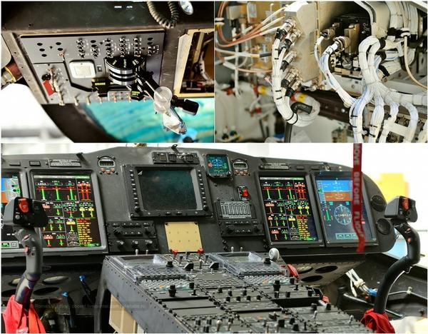 Buồng lái của một chiếc trực thăng Westland 139 đang được hoàn thiện công đoạn lắp ráp.