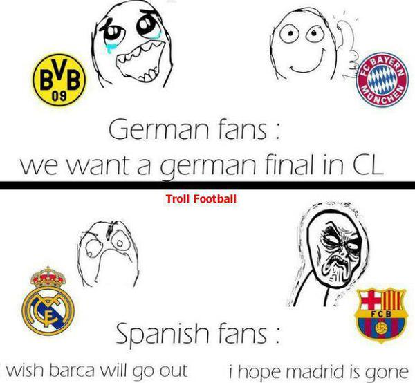 Fan Đức muốn cả 2 đội bóng của họ vào chung kết, fan TBN thì chỉ muốn loại bỏ đối thủ