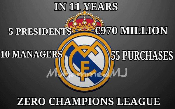 11 năm, 5 Chủ tịch, 970 triệu euro, 10 HLV và 0 danh hiệu Champions League