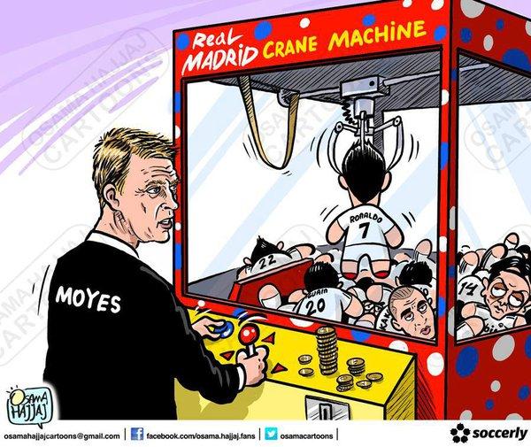 David Moyes đang cố gắng gắp chú gấu Ronaldo