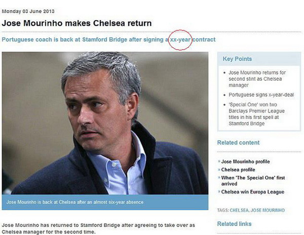 Trang web Premier League đoán ẩu... đăng bừa!