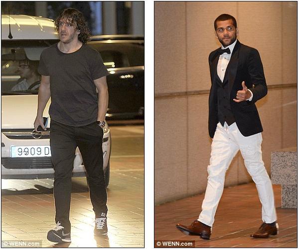 Trái ngược với đồng đội, đội trưởng Puyol ăn mặc khá đơn giản