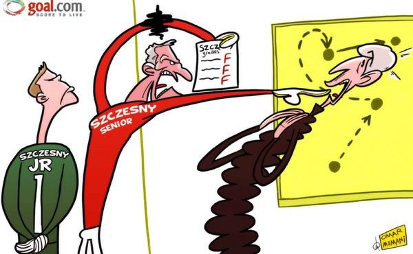 Biếm họa cha Szczesny mắng té tát HLV Wenger