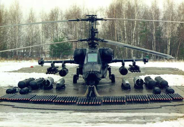 Ka-50 Black Shark có 4 mấu treo vũ khí với tổng cộng 2.300 kg tải trọng có thể mang theo.