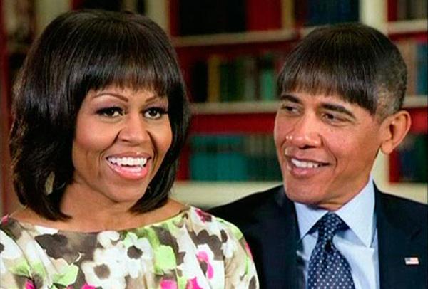 Thổng thống Obama đội bộ tóc giả cùng vợ tham gia buổi tiệc với các nhà báo
