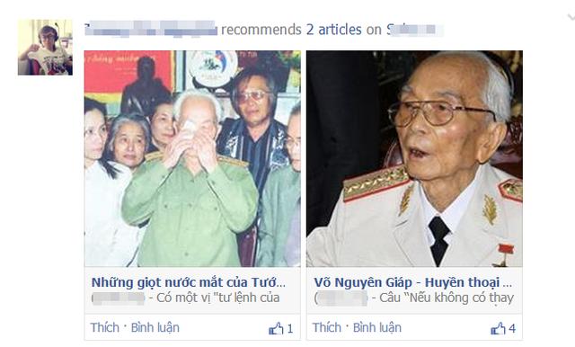 Cộng đồng mạng còn chia sẻ các bài viết về Đại tướng Võ Nguyên Giáp