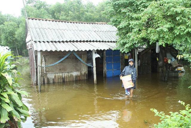 Một người dân lội trong nước lũ do ảnh hưởng của cơn bão số 8 tại huyện Triệu Phong, tỉnh Quảng Trị.