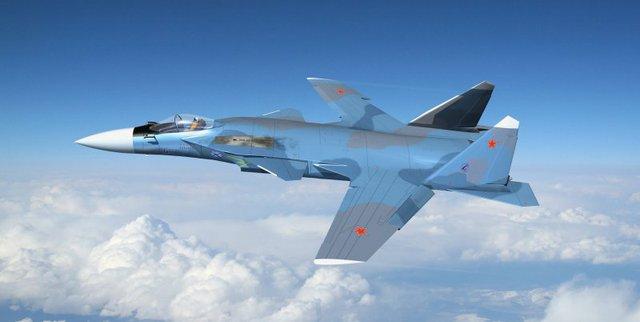 """Máy bay chiến đấu """"Đại bàng vàng"""" Su-47, do tập đoàn Sukhoi của Nga phát triển, được thiết kế với kiểu cánh ngược độc đáo giống như máy bay thử nghiệm X-29 do tập đoàn Northrop Grumman của Mỹ thiết kế và phát triển."""