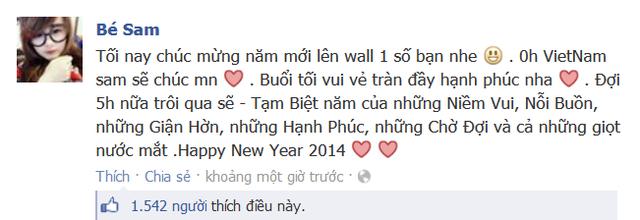 Bé Sam cũng gửi lời chúc mừng năm mới tới mọi người.