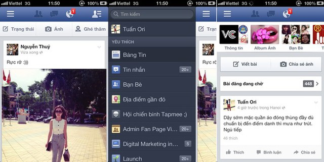 Giao diện Facebook 6.3 tiếng Việt.