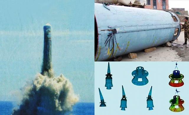 Tên lửa JL-2 Trung Quốc trong một cuộc thử nghiệm (bên trái) và cấu tạo đầu đạn hạt nhân của Trung Quốc (bên phải)